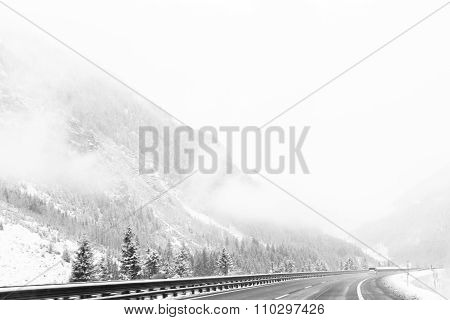 Highway whiteout in the mountains