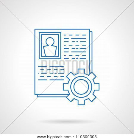 Staff data collection blue line vector icon