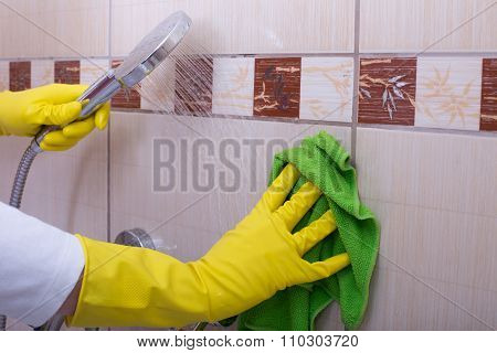 Woman Cleaning Tiles In Bathroom