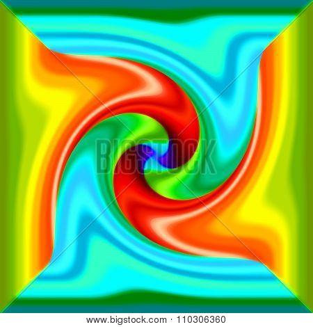 Multi color psychedelic spiral fractal pattern background poster