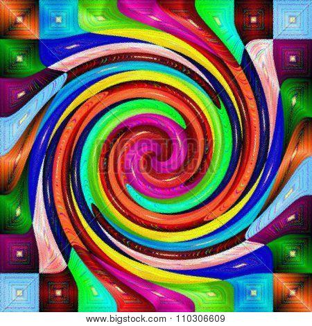 Multi color psychedelic spiral