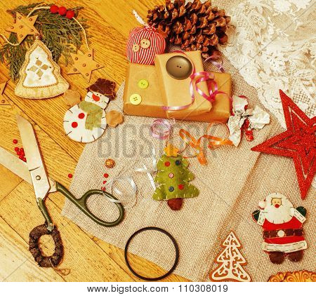 christmas card wooden vintage with handmade gifts, toys, cookie, snowman, santaclaus, button heart w