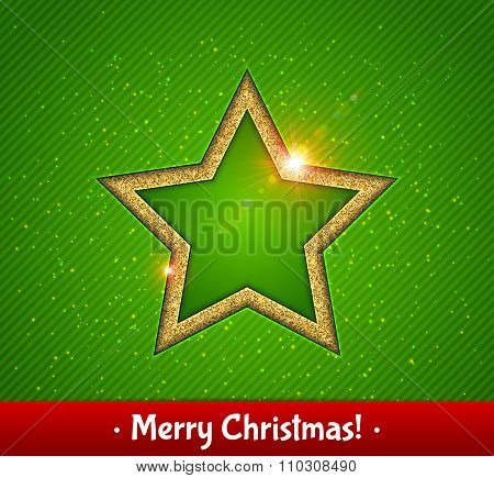Gold shining star, green background. Christmas greeting card