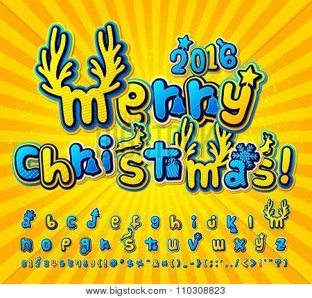 Yellow-blue christmas comic font. Alphabet in style pop art