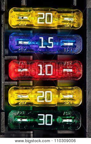 color car fuse, macro view