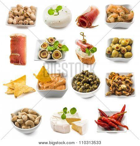 photo collage of spanish tapas  isolated on white background