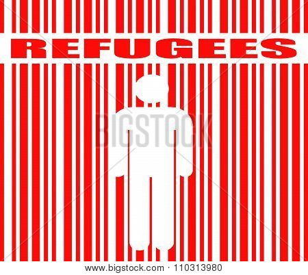 refugees word and human icon in barcode