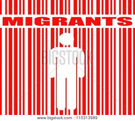 migrants word and human icon in barcode