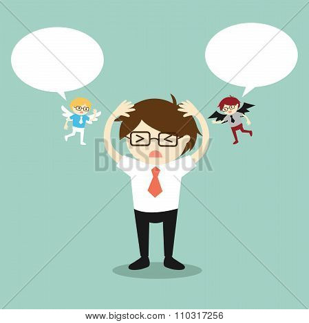 Business concept, Businessman with angel and devil and bubble speech.