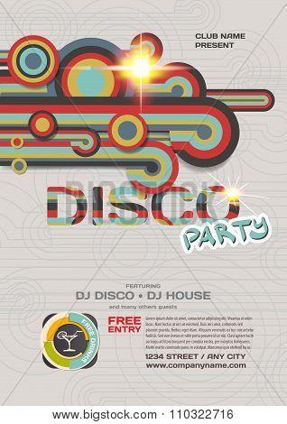 Vector night party invitation disco style. Vector template graph