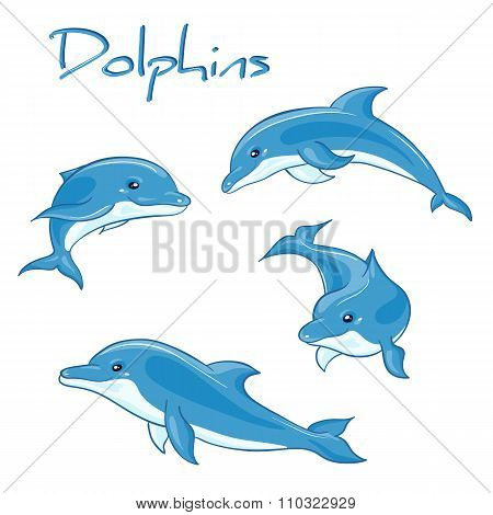 vector hand drawn set of cartoon dolphins in different poses