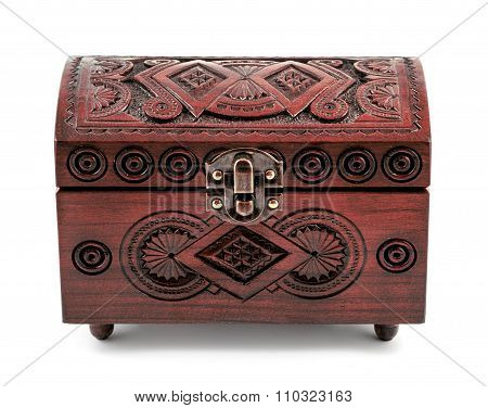 Redwood Carved Casket Handmade Isolated On White
