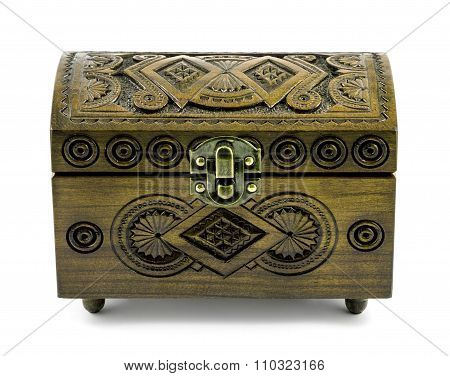 Ash Wood Carved Casket Handmade Isolated On White