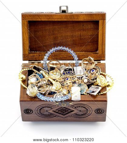 Opened Ash Wood Carved Casket Handmade With Jewelry Isolated On White
