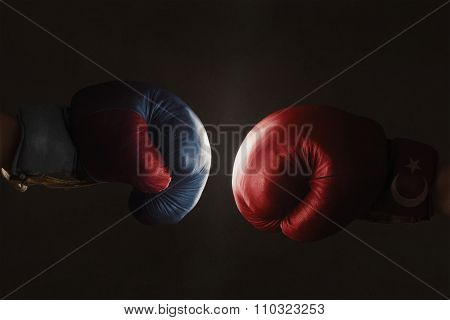Symbol Of The Crisis Between Russia And Turkey Symbolized With Boxing Gloves