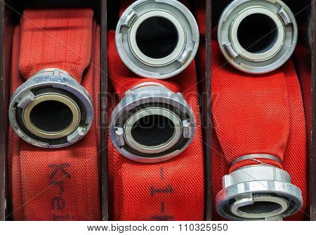 Fire Hose rolled up in the fire department
