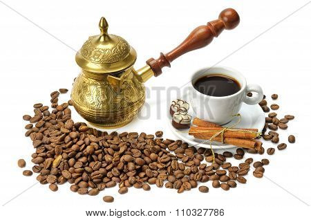 Coffee Beans, Coffee Pot And Cup Isolated On White Background