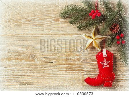 Christmas Background With Cowboy Shoe Decoration