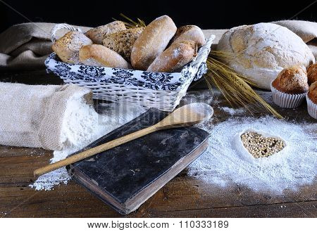 Different Types Of Bread, Fruit Cakes, Scattered Flour, Recipe Book