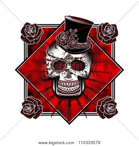 Vector Punk Rock Skull with Top Hat Full Illustration