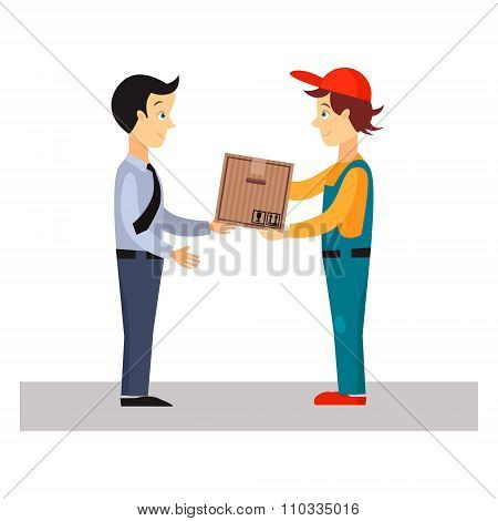 Delivery Man Gives Package, Vector Illustration
