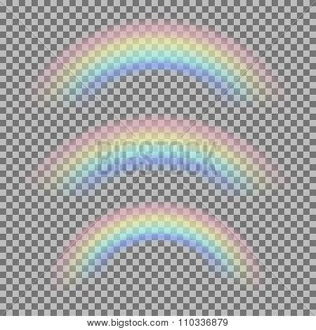 Vector set of different realistic transparent rainbows