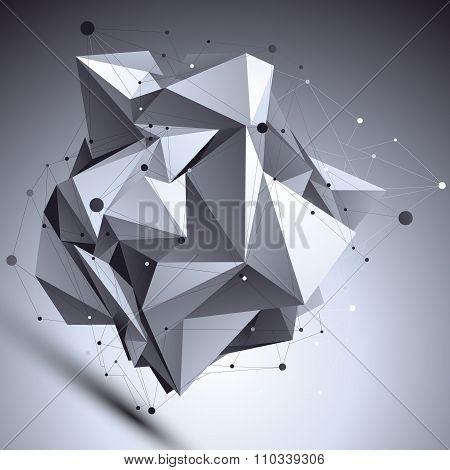 Geometric Vector Abstract 3D Complicated Lattice Backdrop, Asymmetric Eps8 Conceptual Tech Illustrat