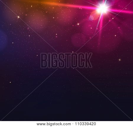 Abstract background with light glare, bokeh and glowing particles