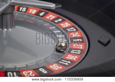Casino Roulette Detail With Ball In Number Thirteen. Gambling