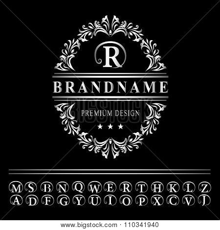 Monogram Design Elements, Graceful Template. Elegant Line Art Logo Design. Business Silver Emblem