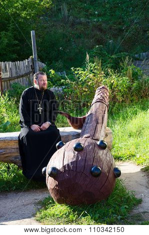 Wooden Sculpture Of Mace At Source Of St. Rev. Ilya Muromets In Karacharovo, Russia