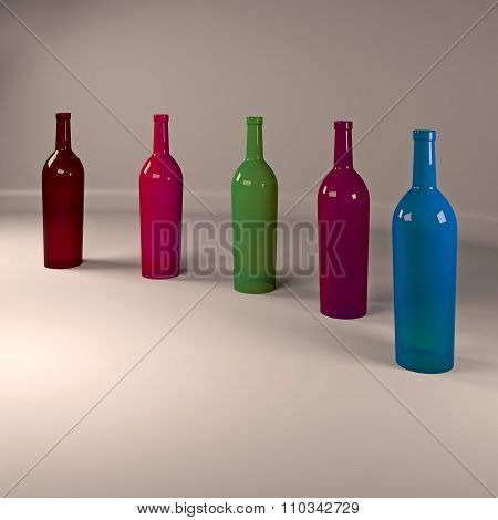 Colored bottles of wine.
