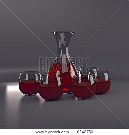The carafe of red wine and four glasses.