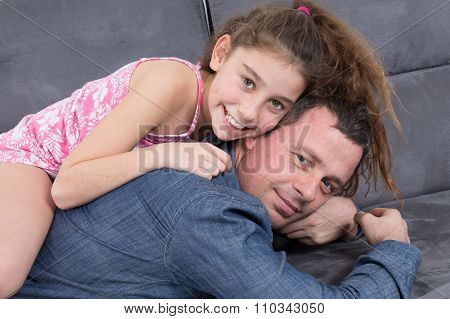 Portrait Of A Man And A Girl - Piggy Back
