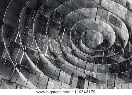 3D Spiral Over Concrete Wall Texture, Abstract