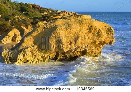 Spectacular rock formations on Praia Da Gale Beach on the Algarve coast