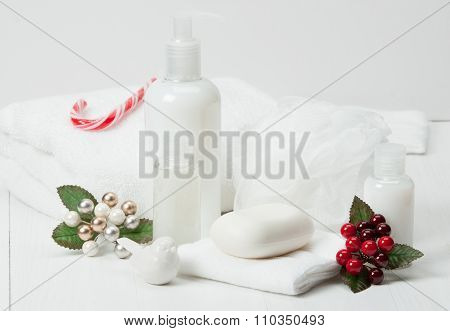 Shampoo, Soap Bar And Liquid. Toiletries Spa Kit Towels. poster
