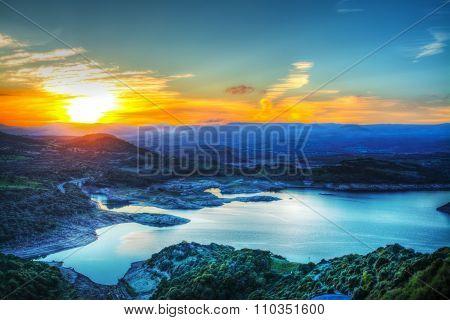 Colorful Sky Over The Monteleone Lake