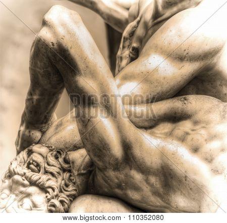 Hercules And Nesso Centaur Statue In Sepia Tone