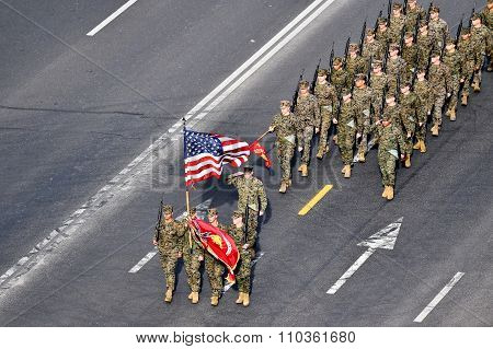 United States Marines Marching At Military Parade