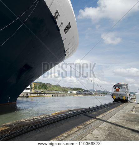 Cruise ship exiting Pedro Miguel Locks, Panama Canal