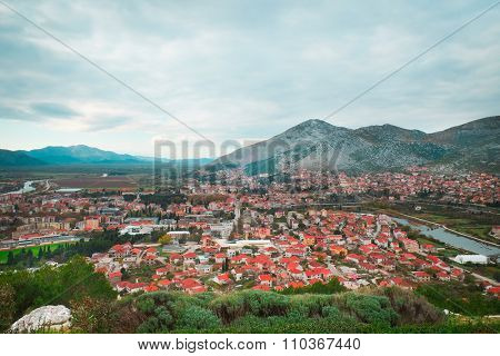 Mountains landscape with the view of Trebinje city in Bosnia poster