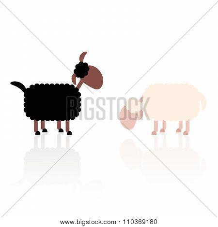 Black And White Sheep Illustration