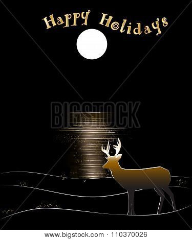Deer by Water with Moon