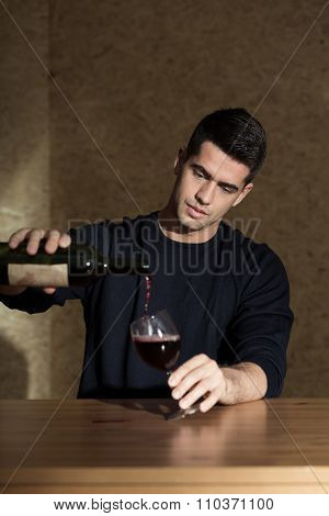 Man Is Pouring Himself