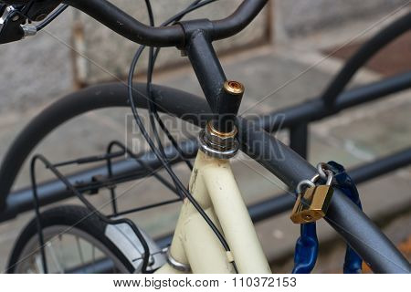 Bicycle Tied By Padlock