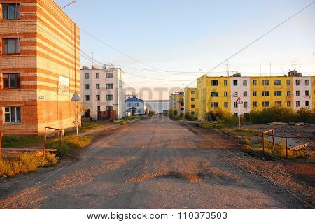 Gravel Road At Street Of Chersky Town Kolyma River