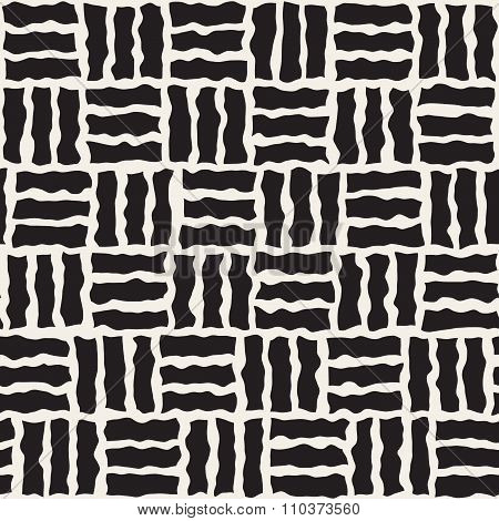Vector Seamless Black And White Rough Hand Painted Pavement Grid Pattern