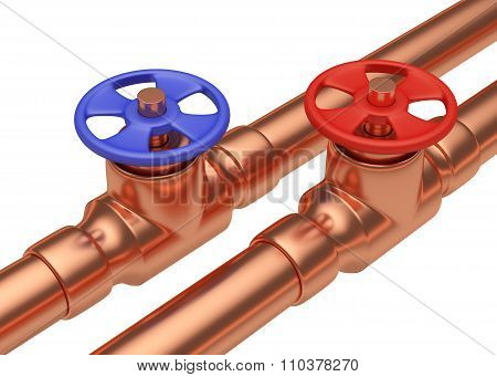 Blue And Red Valves On Copper Pipes Diagonal View