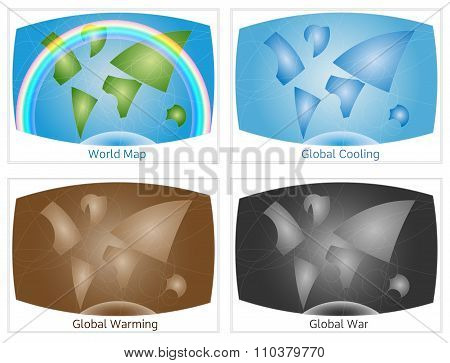 Set of conceptual world maps, illustrate environment sustainabil